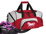 SMALL Horse Gym Bag Horse Theme Duffle Red