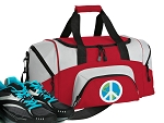 SMALL Peace Sign Gym Bag World Peace Duffle Red