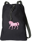 Cute Horse Cotton Drawstring Bag Backpacks