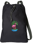 Flamingo Cotton Drawstring Bag Backpacks