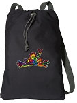 Peace Frogs Cotton Drawstring Bag Backpacks