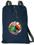 Soccer Cotton Drawstring Bag Backpacks RICH NAVY