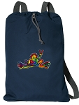 Peace Frogs Cotton Drawstring Bag Backpacks RICH NAVY