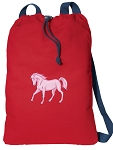 Cute Horse Cotton Drawstring Bag Backpacks COOL RED