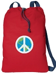 Peace Sign Cotton Drawstring Bag Backpacks COOL RED