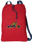 Peace Frogs Cotton Drawstring Bag Backpacks COOL RED