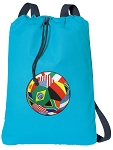 Soccer Cotton Drawstring Bag Backpacks COOL BLUE