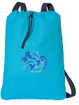 DOLPHINS Cotton Drawstring Bag Backpacks COOL BLUE