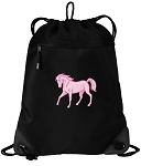 Cute Horse Drawstring Backpack-MESH & MICROFIBER