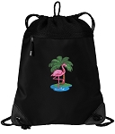 Flamingo Drawstring Backpack-MESH & MICROFIBER
