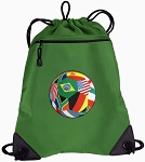 Soccer Drawstring Backpack Mesh and Microfiber
