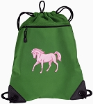 Cute Horse Drawstring Backpack Mesh and Microfiber