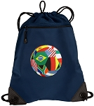 Soccer Drawstring Backpack-MESH & MICROFIBER Navy