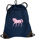Cute Horse Drawstring Backpack-MESH & MICROFIBER Navy