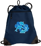 DOLPHINS Drawstring Backpack-MESH & MICROFIBER Navy