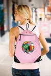 Soccer Drawstring Bag Mesh and Microfiber Pink