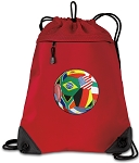 Soccer Drawstring Backpack MESH & MICROFIBER Red