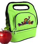 Peace Frogs Lunch Bag 2 Section Lime