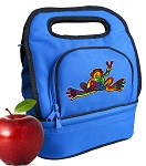 Peace Frogs Lunch Bag 2 Section Blue
