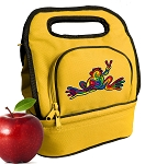 Peace Frogs Lunch Bag 2 Section Gold