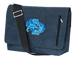DOLPHINS Messenger Bags STYLISH WASHED COTTON CANVAS Blue