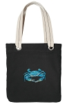 BLUE CRAB Tote Bag RICH COTTON CANVAS Black