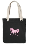 Cute Horse Tote Bag RICH COTTON CANVAS Black