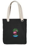 Flamingo Tote Bag RICH COTTON CANVAS Black