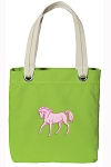 Cute Horse Tote Bag RICH COTTON CANVAS Green