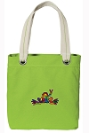 Peace Frogs Tote Bag RICH COTTON CANVAS Green