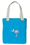 South Carolina Palmetto Tote Bag RICH COTTON CANVAS Turquoise