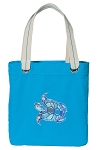 Turtle Tote Bag RICH COTTON CANVAS Turquoise