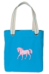 Cute Horse Tote Bag RICH COTTON CANVAS Turquoise