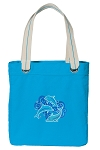 DOLPHINS Tote Bag RICH COTTON CANVAS Turquoise