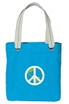Peace Sign Tote Bag RICH COTTON CANVAS Turquoise