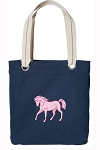 Cute Horse Tote Bag RICH COTTON CANVAS Navy