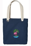 Flamingo Tote Bag RICH COTTON CANVAS Navy