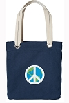Peace Sign Tote Bag RICH COTTON CANVAS Navy