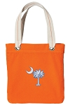 South Carolina Palmetto Tote Bag RICH COTTON CANVAS Orange