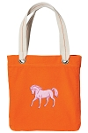 Cute Horse Tote Bag RICH COTTON CANVAS Orange