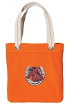 Horse Theme Tote Bag RICH COTTON CANVAS Orange