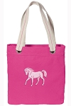 Cute Horse Tote Bag RICH COTTON CANVAS Pink