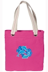 DOLPHINS Tote Bag RICH COTTON CANVAS Pink