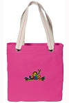 Peace Frogs Tote Bag RICH COTTON CANVAS Pink
