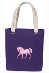 Cute Horse Tote Bag RICH COTTON CANVAS Purple