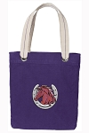 Horse Tote Bag RICH COTTON CANVAS Purple