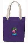 Flamingo Tote Bag RICH COTTON CANVAS Purple