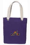 Peace Frogs Tote Bag RICH COTTON CANVAS Purple