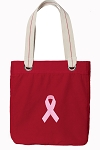 Pink Ribbon Tote Bag RICH COTTON CANVAS Red