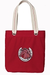 Horse Tote Bag RICH COTTON CANVAS Red